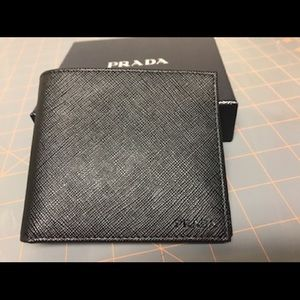 NWT Authentic Prada Saffiano Bi-fold Wallet -Black